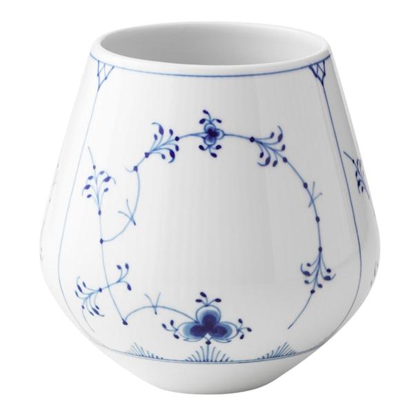 Blue Fluted Plain Vas 15 cm