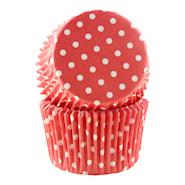 Form 6 cm röd polka 30-pack