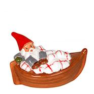 Tomte i julklappsbåt 15 cm