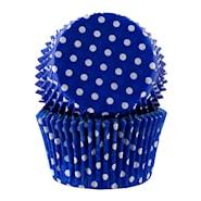 Form 6 cm blå polka 30-pack