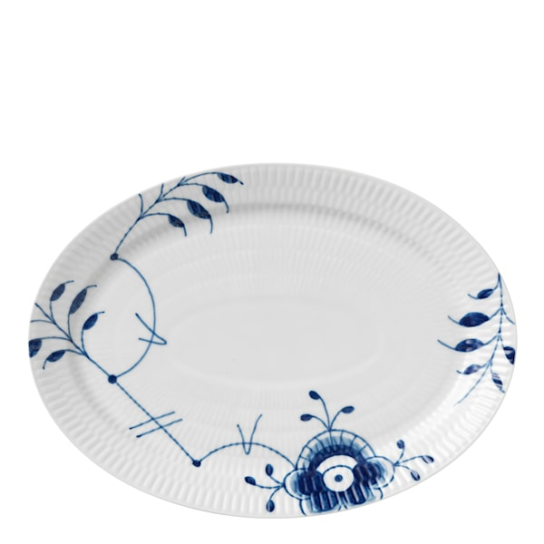 Blue Fluted Mega Fat 28 cm ovalt dekor nr 7