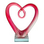 Glassulptur Hjärta Glas Rosa 18,5 cm