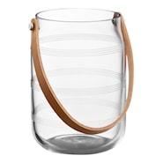 Omaggio Lyslykt glass med skinnhåndtak