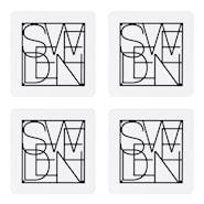 Glasunderlägg Sweden Svart/Vit 4-pack