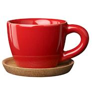 Espressokopp med träfat 10 cl Äppelröd