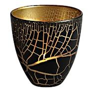 Croco Ljuslykta Svart/Guld 10 cm
