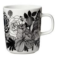 Oiva/Siirtolapuutatha Kopp 25 cl Svart/hvit blomster