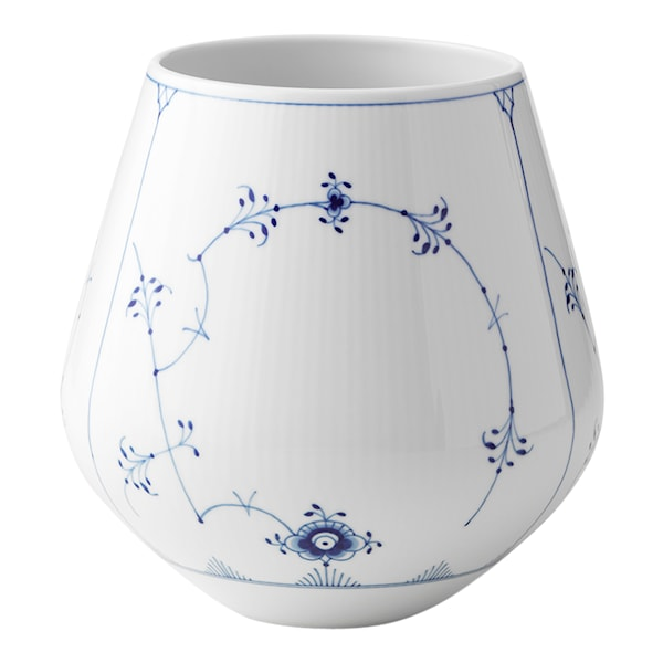 Blue Fluted Plain Vas 20,5 cm