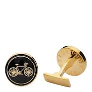 Themocracy Manschettknappar Cykel Svart/Guld 17 mm