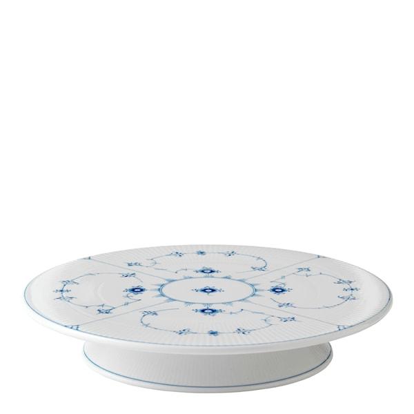 Blue Fluted Plain Tårtfat på fot 32 cm
