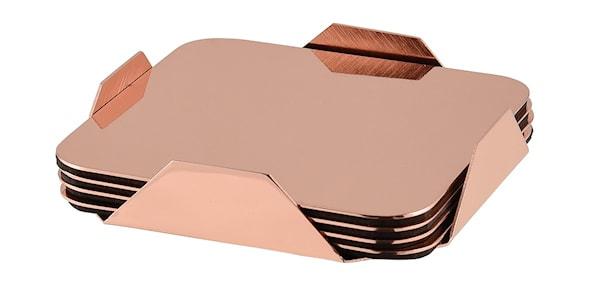 Glasunderlägg i koppar 4-pack